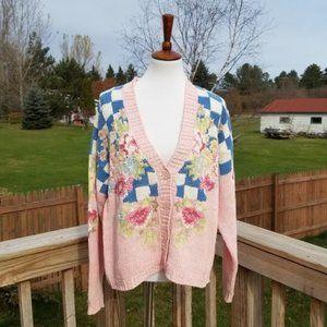 Vintage 90s I.V.Y. Pink Knit Floral Cardigan